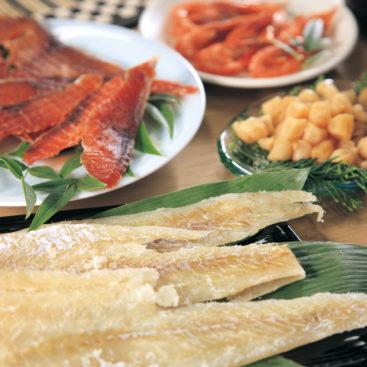 雪室雪中梅漬け鱈、極味鮭、貝柱、えいひれ